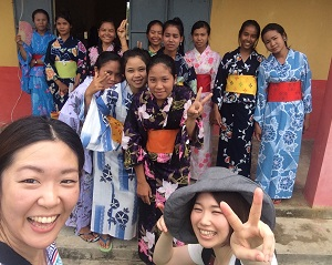 Cambodian kids trying Japanese Kimonos