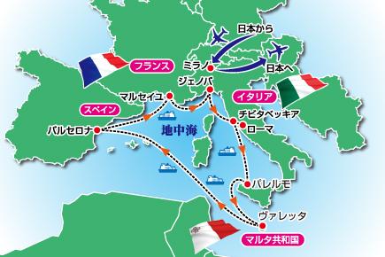 11月〜3月 美しきジェノバからはじまる地中海5ヵ国クルーズ Map